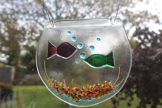 a pair of kissing fish and a large bowl of 4 fish lovely gift MADE TO ORDER fish in a bowl made in fused glass for hanging suncatcher
