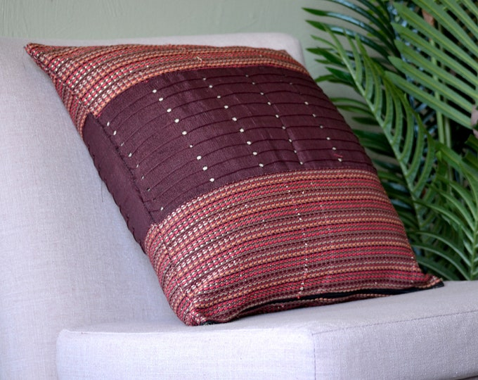 Brick // Aso Oke Throw Pillow Cover // African Print // 18 x 18