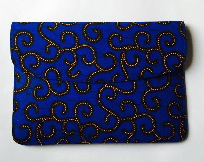 Blue Ankara Spirals Laptop Sleeve