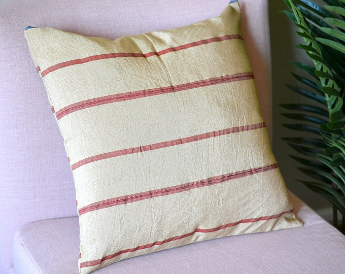 Red Stripes // Aso Oke Throw Pillow Cover // African Print // 18 x 18