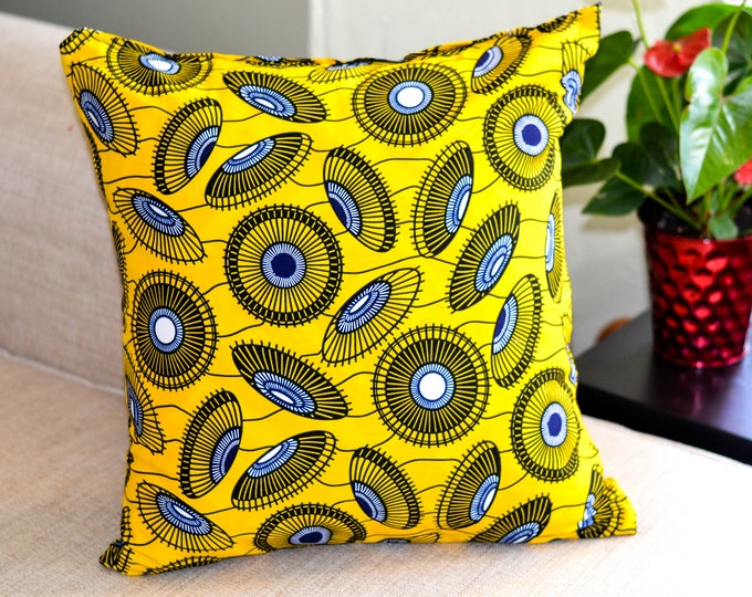 Yellow Parasol // Ankara Throw Pillow Cover