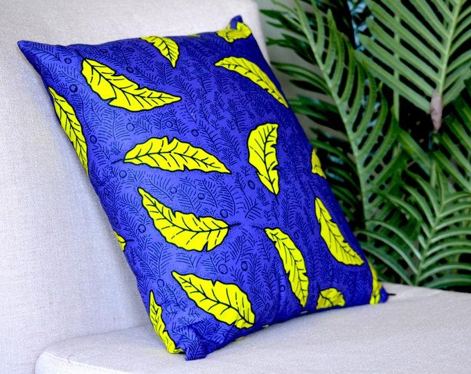 New Leaf // Ankara Throw Pillow Cover // 18 x 18
