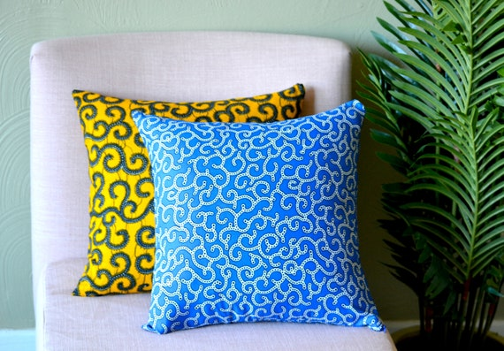 Blue Spirals // Ankara Throw Pillow Cover