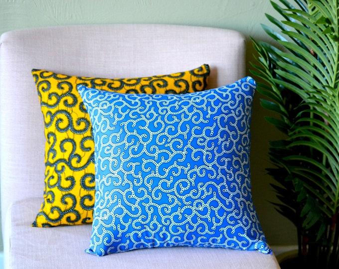 Blue Spirals // Ankara Throw Pillow Cover