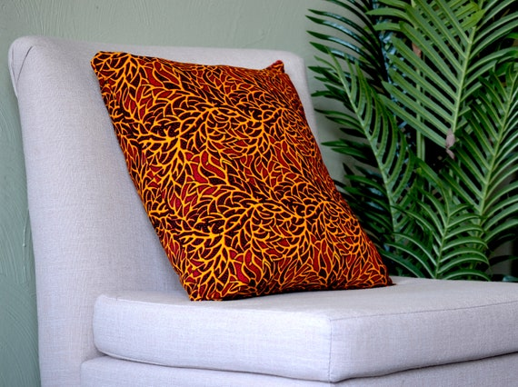 Red Branches // Ankara Throw Pillow Cover
