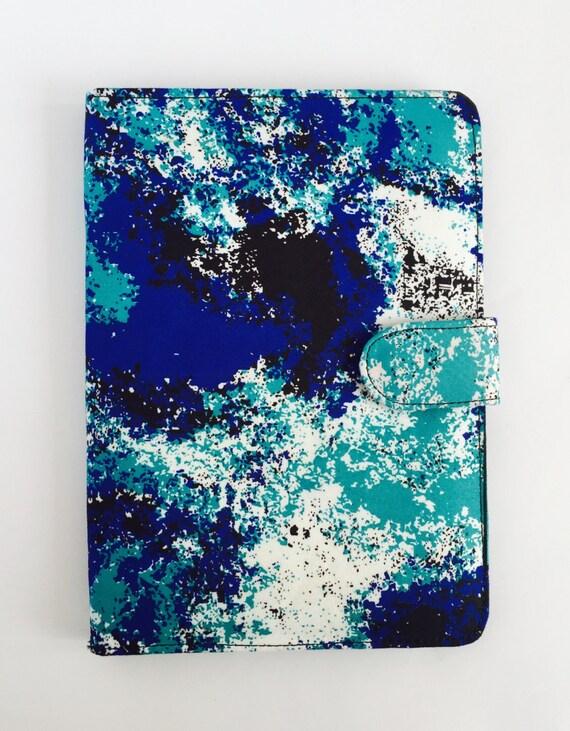 "10"" Ankara Blue Splashes Tablet Case // Notepad Holder & Cover"