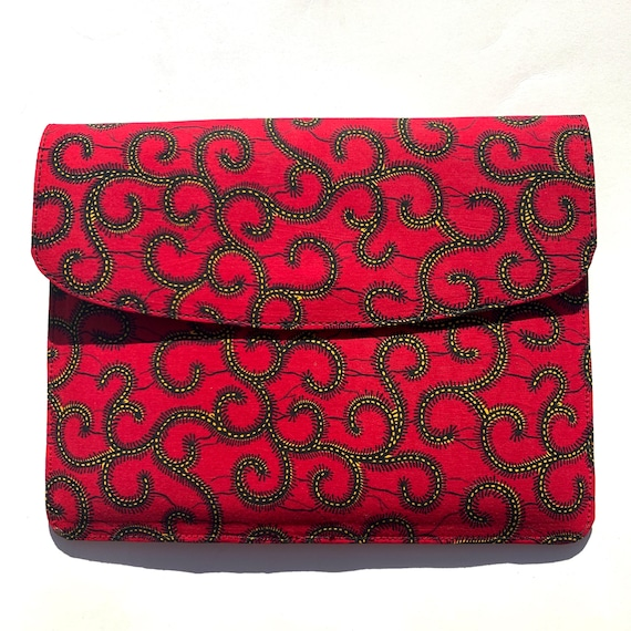 Red Spirals // Ankara Laptop Sleeve // African Print