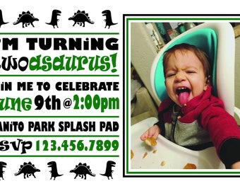 TWO-Asaurus Birthday Invitation! Custom Birthday Invitation