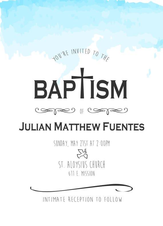 Simple Baptism Invitation Catholic Baptism Invite Baby Boy Etsy