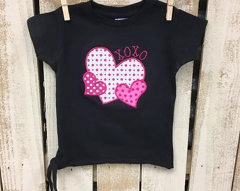 Girl's Valentine's Day Shirt/ Personalized Valentine's Day Shirt/ Monogram Valentine's Day Shirt/ Applique Valentine's Day Shirt