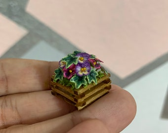 Miniature Crate with Pansies - 1 inch scale