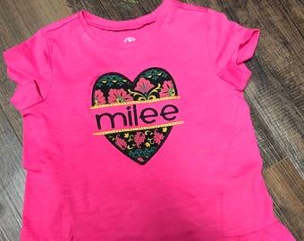 M2M MJ split heart applique shirt