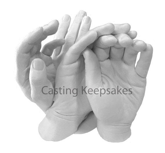 Luna Bean Keepsake Hands -XL- Plaster Life Casting Kit - Group or Family  Size Hand Casting Kit
