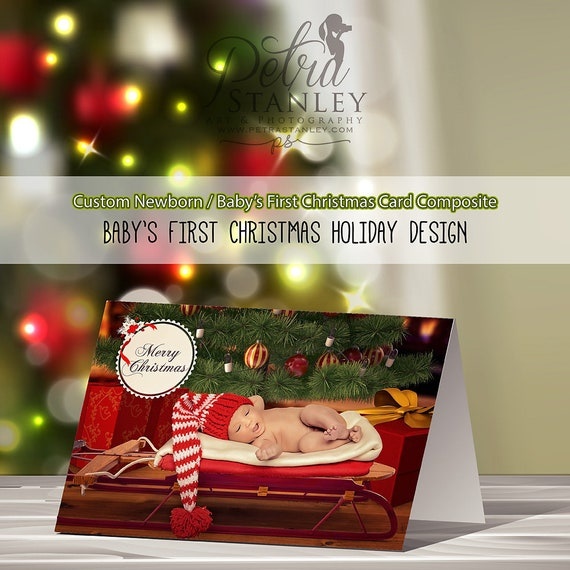 baby s first christmas photo card personalized holiday etsy