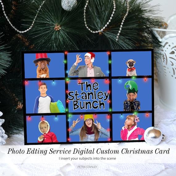 Funny Retro Tv Christmas Photo Cards Zoom Christmas Card Etsy