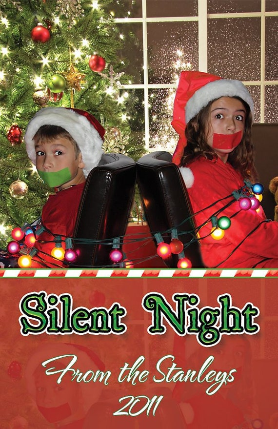 Funny Christmas Photo Cards Kids Taped Mouths Custom   Etsy
