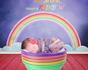 Set of 3 Rainbow Baby Digital Backdrops - Rainbow Child Photographer Digital Background - Newborn, Baby, Toddler, Child - Rainbow Baby Quote