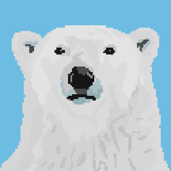 Etiqueta engomada del arte del Pixel oso polar | Etsy