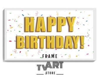 Frame TV Art Happy Birthday for Samsung TV 4K Art Birthday Frame TV Gold Balloons - Digital Art Instant Download #BiDz5gw