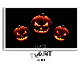 Samsung TV Frame Art Halloween Pumpkin Digital Download 4K Frame Tv Art Pumpkin