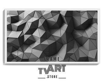 TV Art for Samsung Frame TV Geometric 3D Triangles Black Gray - Digital Samsung Frame TV Art Abstract 4K Instant Download #PolYz5