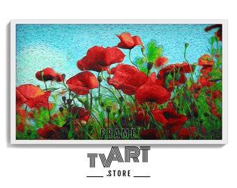 Frame TV Art Flower Poppy 4K Digital Instant Download Artwork Samsung Frame TV Art Flowers Poppy Digital Painting #SiBt4