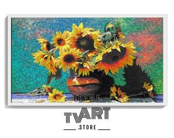 Samsung TV Frame Art Floral 4K Instant Digital Download Art Tv Sunflower Oil Painting Samsung Frame Tv Art Flower Vintage Artwork #MgEd1