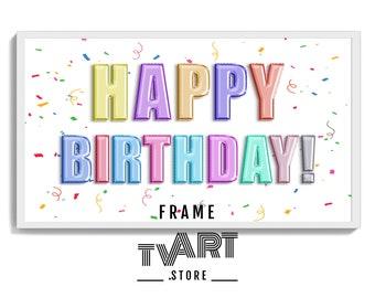 Happy Birthday TV Art Digital for Samsung Frame TV Art Birthday Color Balloons - 4K Digital Instant Download #BiDz5cw