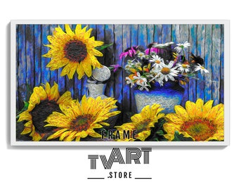 Samsung Frame TV Art Flower Sunflower, Painted Artwork for Samsung Frame TV Art, Sunflower Oil Painting, Flowers 4k Digital Download #PeLt7