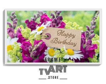 Happy Birthday Frame TV Art - Digital Download 4k - Artwork Painting for Samsung frame tv art Happy Birthday - Digital Paint #ZjMw1