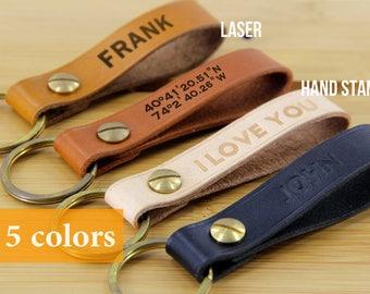 Custom Leather Keychain Fob, Custom Leather Keyring, Personalised Keyring Key Fob, Personalized Leather Keychain Key Fob, Initial Keyring