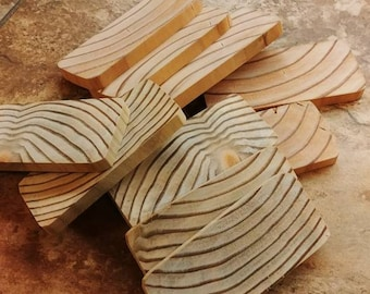 """Wood slices, 2 X 4 pine slices, Mixed Grain Wood Slices, Small and large grain wood slices, 3 1/2"""" X 1  1/2"""" X 1/4"""". 10 slices per pack"""