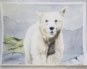 Spirit Bear Watercolor Print 8x10 Frame Ready