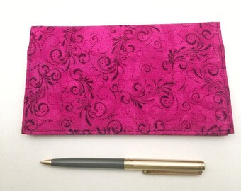 Magenta Checkbook Cover - Checkbook Cover Duplicate Checks - Checkbook Cover for Women - Duplicate Checkbook  Cover - L Miller Creations