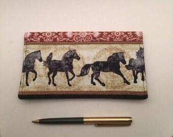 Horses Checkbook Cover - Checkbook Cover Duplicate Checks - Fabric Checkbook -  Cash  Envelope - Gift -  L Miller Creations