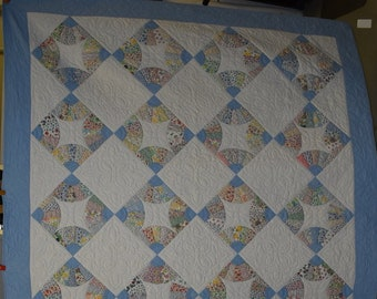 """Antique """"Fans"""" Quilt, Feed Sack Prints, Blue Border, Full/Queen Vintage Quilt,  Handmade, One of a Pair Being Sold Separately  #18239"""