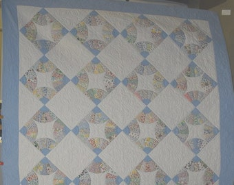 """Antique """"Fans"""" Quilt, Feed Sack Prints, Blue Border, Full/Queen Vintage Quilt, Handmade, One of a Pair Being Sold Separately #18240"""