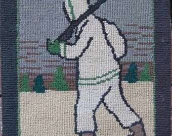 """Antique Grenfell Hand Hooked Mat, """"Hunter on Snowshoes"""" Circa 1930, Original Label and Mounted for Hanging, #17550"""