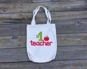 Number 1 Teacher Tote bag    Teacher Gift   Reusable Grocery Bag   School Bag   School Supply Bag   Cute Teacher Gift