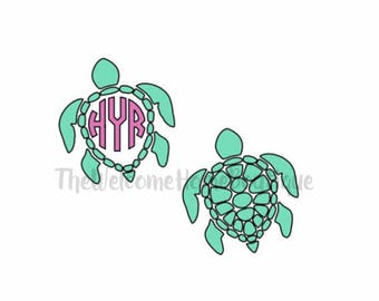 Turtle Vinyl Decal, Car decal, tumbler decal, beach decal, sea turtle decal, personalized decal, monogram turtle decal