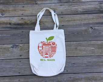 Personalized Teacher Tote bag   Personalized Teacher Gift   Reusable Grocery Bag   School Bag   School Supply Bag