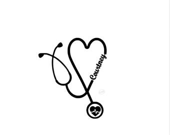 Personalized stethoscope decal, nurse decal, tumbler decal, nurse car decal, doctor decal, personalized doctor decal