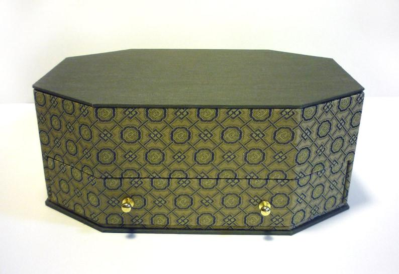 treasure box cartonnage keepsake Jewelry Box With A Mirror,fabric covered box item storage,