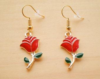Rose Earrings, Gold Plated Flower Earrings, Charm Earrings, Jewelry Findings
