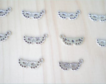 Mardi Gras Mask Charms, Set of 10, Party Charms, Jewelry Making, Charm Findings
