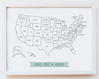 MAP of the USA, United States of America — Giclee Art Print, travel illustration, illustrated wall art, poster, decor — size A4 or A3
