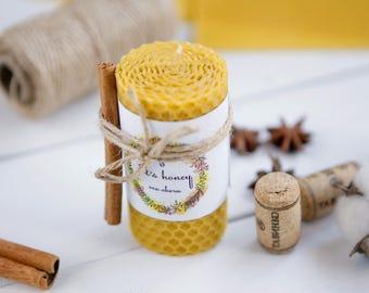 100% Natural Beeswax Pillar Handrolled Cinnamon Candle. Eco-friendly Honeycomb.
