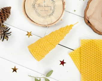 100% Natural Beeswax Spiral Handrolled Candle Eco-friendly Honeycomb