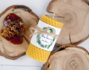 100% Natural Beeswax Pillar Handrolled Fir Candle. Eco-friendly Honeycomb.