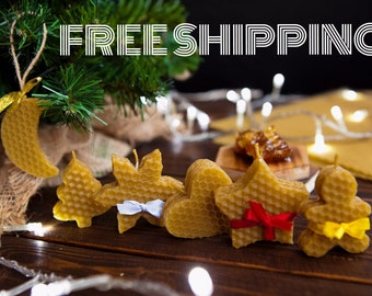 FREE SHIPPING Set of 6 Natural Beeswax candles is Christmas gift box. Honeycomb holiday cookis.
